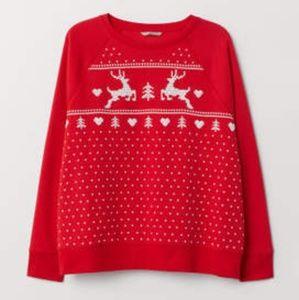 H&M Prined Sweatshirt with Deer design, Red, XS.
